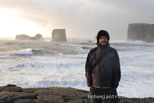 Stephen at Cape Dyrholaey and Seaside cliffs Iceland