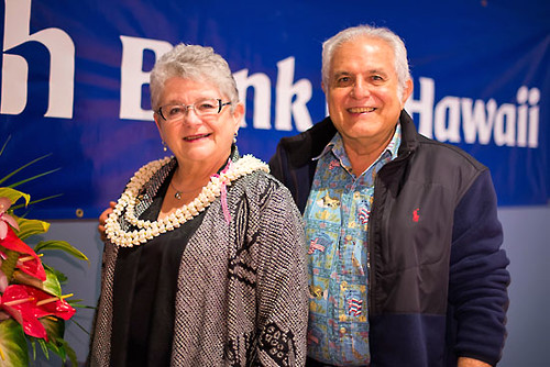 <p>University of Hawaii President M.R.C. Greenwood gave the keynote address at the Hawaii Island Chamber of Commerce's annual Athena Awards Luncheon in Hilo. Former University of Hawaii at Hilo Director of University Relations Gerald DeMello also attended the luncheon. (Photo courtesy of HICC)</p>