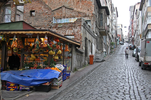 A stone-paved street in Istanbul old city, Turkey イスタンブール、旧市街の石畳の道