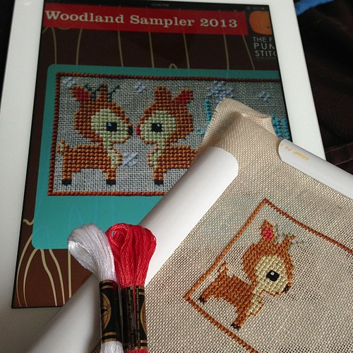One adorable little deer finished! So cute I can't stand it! :) #woodlandsampler #thefrostedpumpkinstitchery#crossstitch