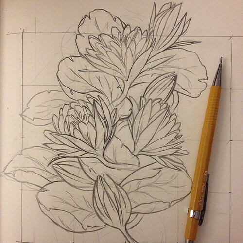 Process shot of my floral pattern for the night. #art #drawing #sketch