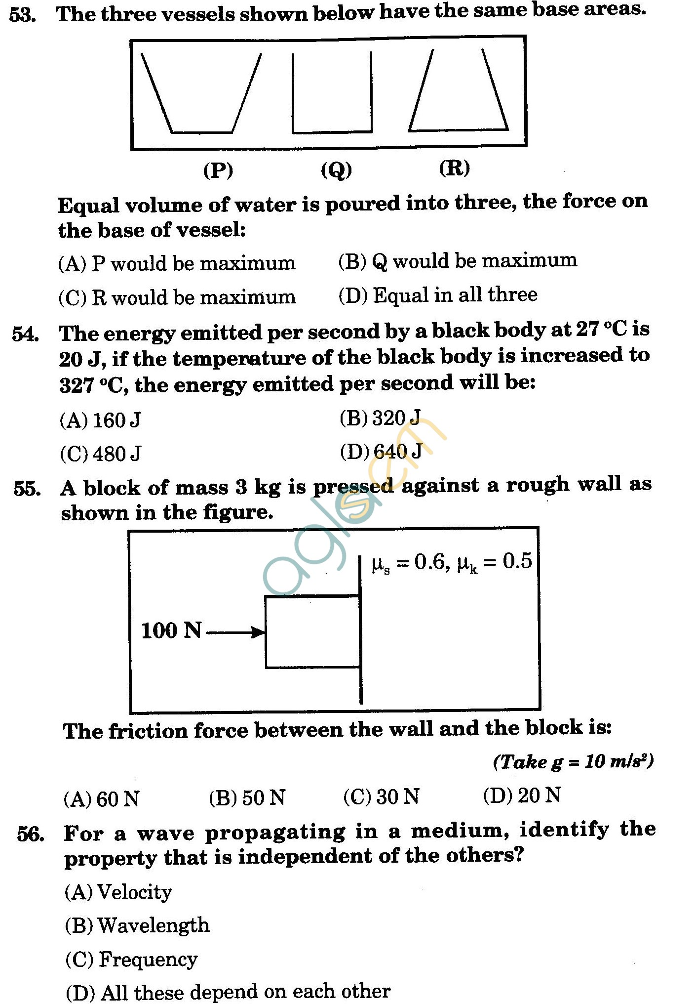 NSTSE 2009 Class XI PCB Question Paper with Answers - Physics