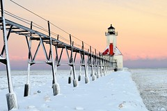 St. Joseph Lighthouse | Winter Sunrise by Michigan Nut