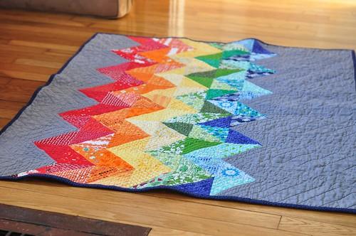 rainbow chevron baby quilt