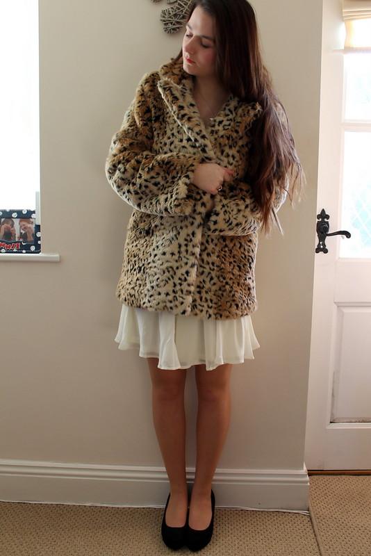 Chiara Fashion - white strapless sequin dress, leopard coat