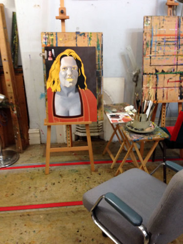 Painting a portrait of Erika in the studio.