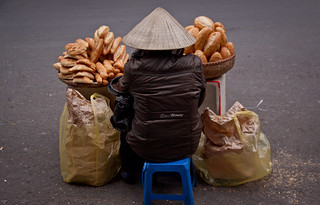 French Baguette Vendor in The Old Quarter - Hanoi, Vietnam