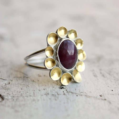 Rose Cut Sapphire, sterling silver and 24k gold cocktail ring