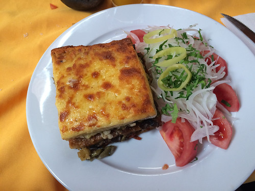 San Pedro de Atacama: lasagne végétarienne (avec, en plus, du quinoa en accompagnement !)