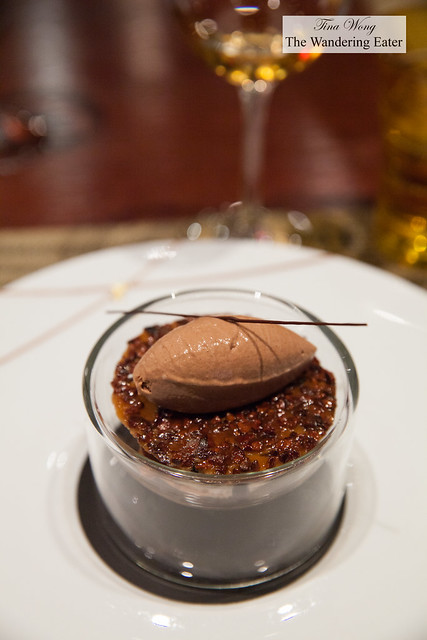 Le Grué de Cacao ice cream, crispy tuile, Manjari chocolate chantilly
