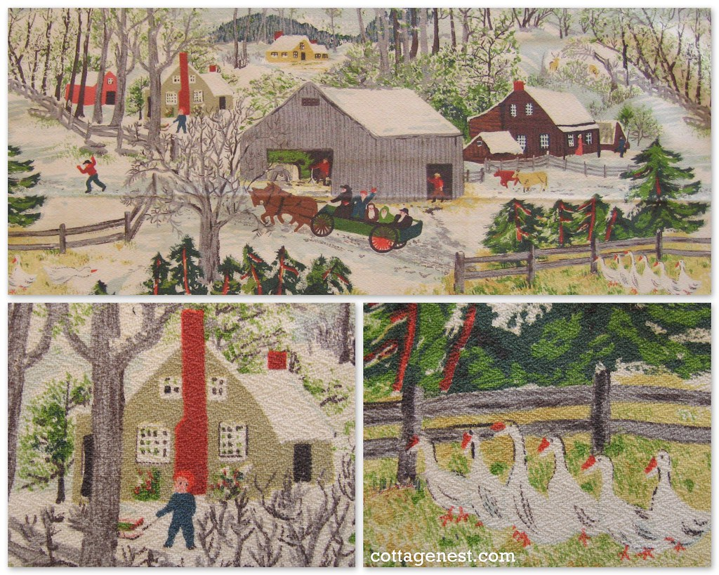 vintage winter scene barkcloth