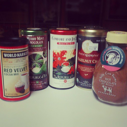 Winter beverages have been procured. Red velvet cocoa, mint chocolate tea, Comfort & Joy tea, hazelnut chai & marshmallow swirl cocoa. #yum