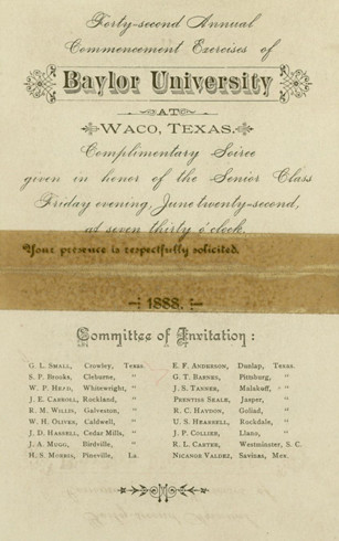 Baylor University Commencement invitation, 1888