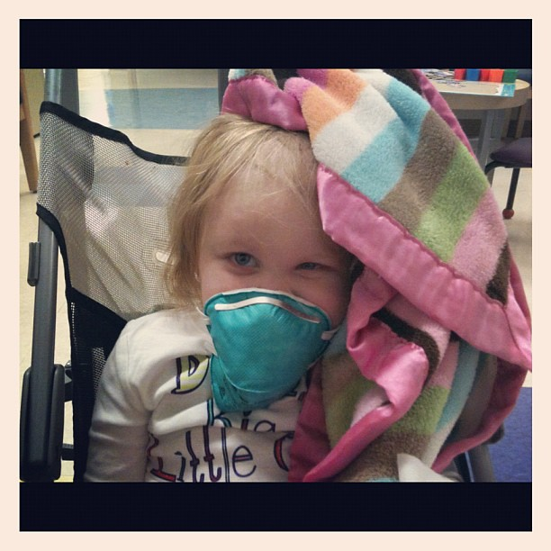 "Pre-MRI. She is ""smizing"" ;) you know, smiling w her eyes #gingerfight #reesey #prayersforreesey #chemointumorout"