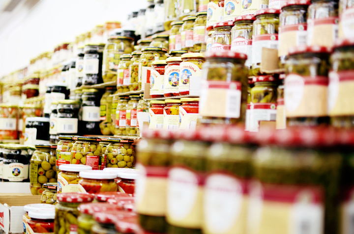 wall of jars of olives