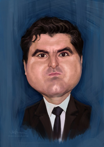 digital caricature of Itsik Krief for Hewlett Packard