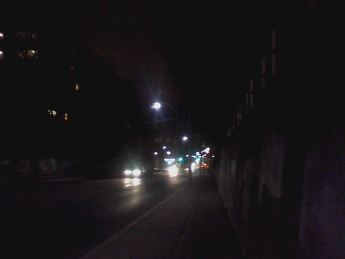 Looking down Bathurst Street at night