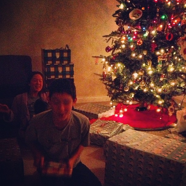 The Kids Are Wound Up, Trying to Guess What's in Each Package #wishtheywouldgotosleep #merrychristmas #tree