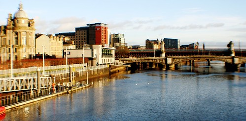 Glasgow City Centre with George V Bridge over River Clyde