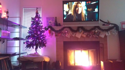 Watching Fringe by the fire, waiting for it to get dark before we take the Christmas photo by christopher575
