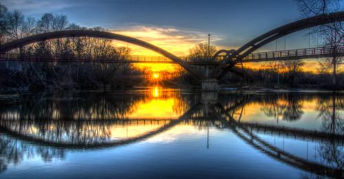 bridge sunset water mi michigan midland tridge midlandmi chippewariver midlandmichigan flickraward tittabawasseeriver flickraward5 mygearandme pentaxk5 flickrawardgallery ringexcellence christmas2012 imgp226768697071tonemapped2