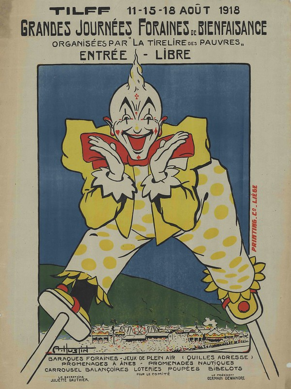 lithograph of slightly evil looking clown on stilts for war effort event advert
