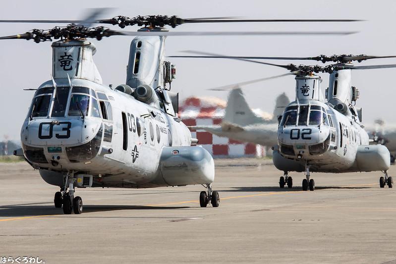 """HMM-265 """"Dragons"""" CH-46 Bu.No.156437 & 153999 @ NAF Atsugi"""