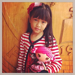Marts and her doll Anna. Her other one is Sophia.