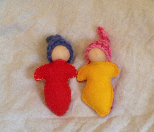 Handmade pocket dolls - mine on the right; Yoav's on the left - tutorial here: http://annabranford.com/making-things/how-to-make-a-steiner-inspired-pocket-doll-a-very-open-ended-tutorial