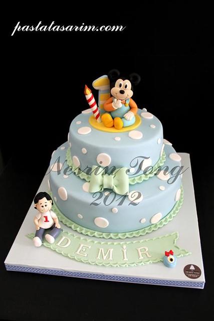 baby mickey mouse cake - demir 1st birthday (Medium)