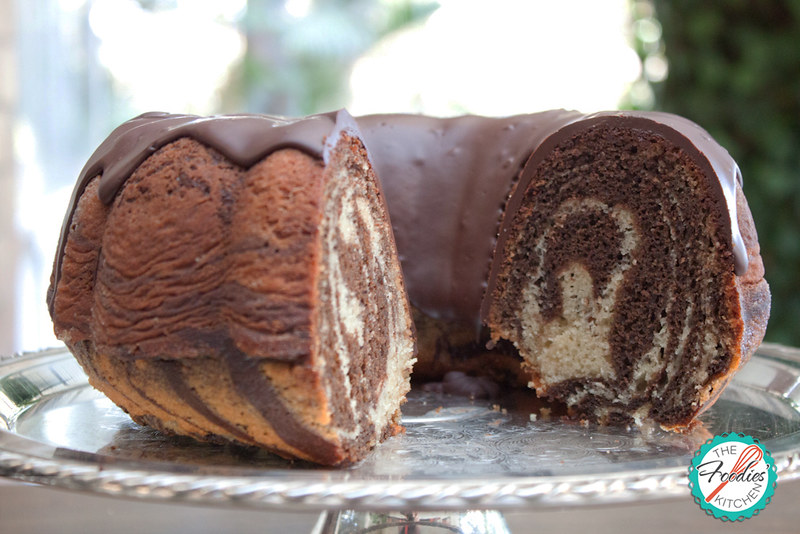 Zebra Bundt Cake drizzled with Chocolate