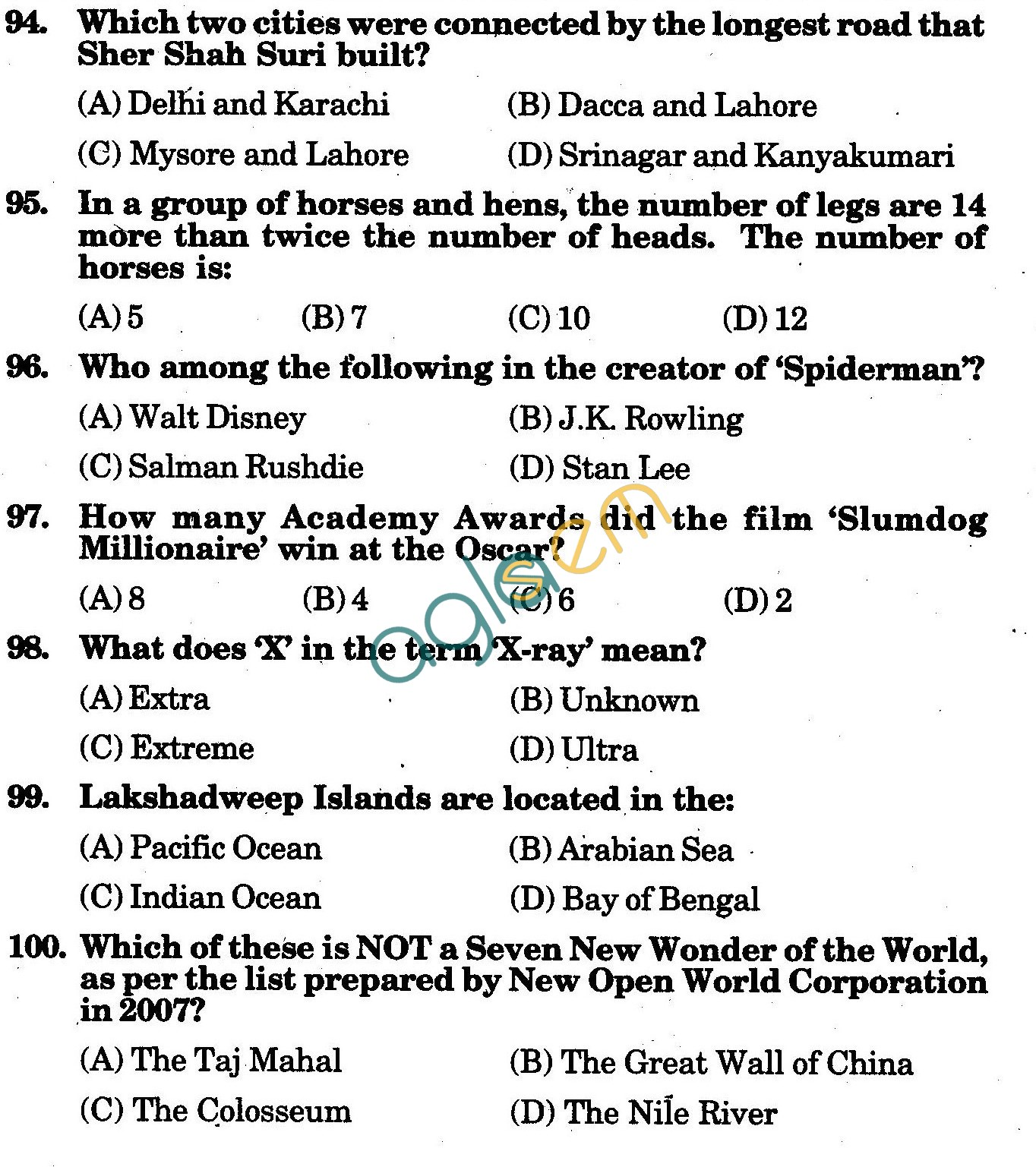 NSTSE 2010 Class VIII Question Paper with Answers - General Knowledge