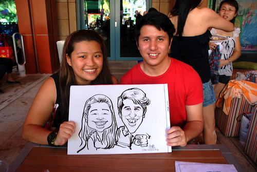 caricature live sketching for Mark Lee's daughter birthday party - 5