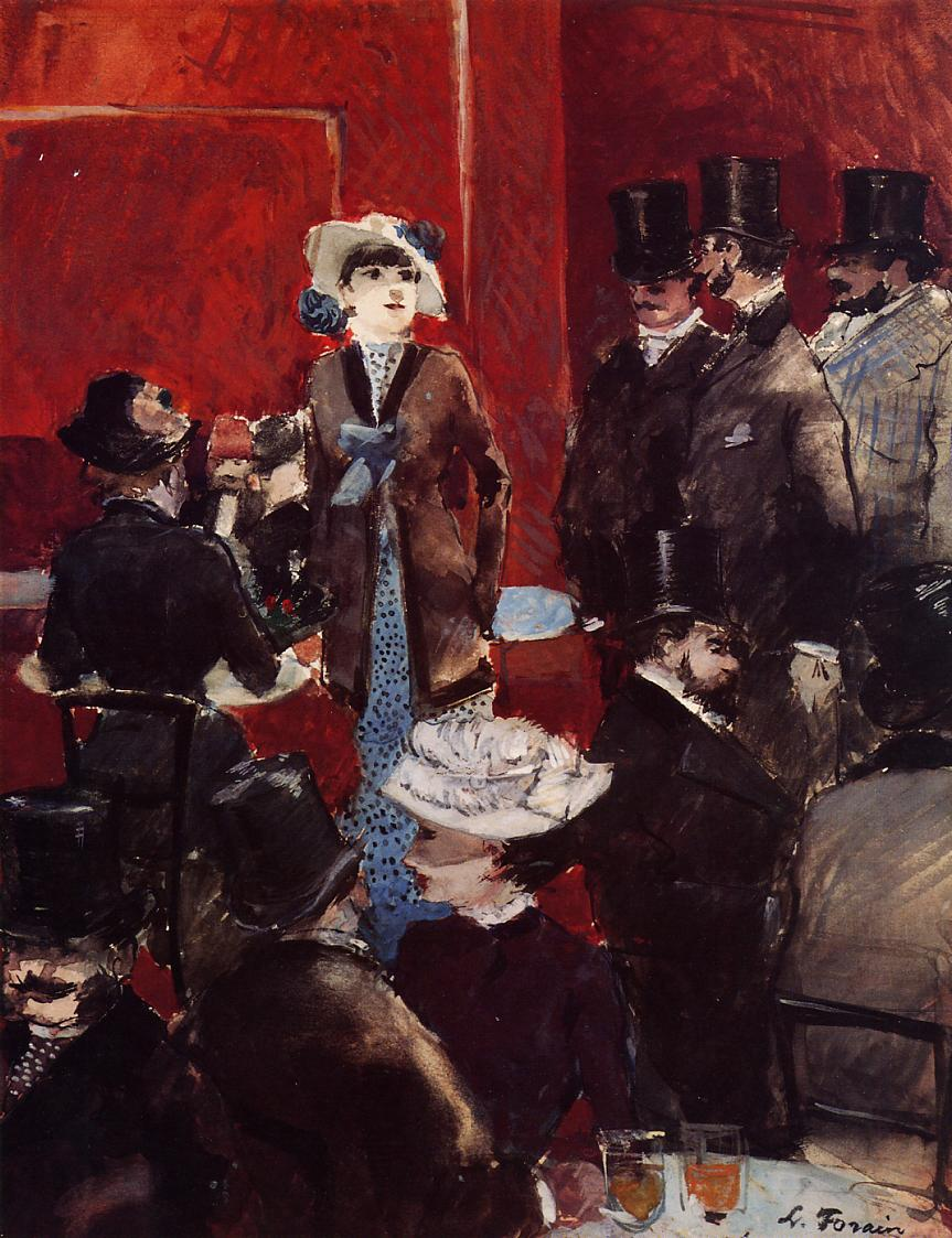 At the Cafe by Jean-Louis Forain - circa 1879