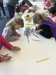 Children colouring in godwits