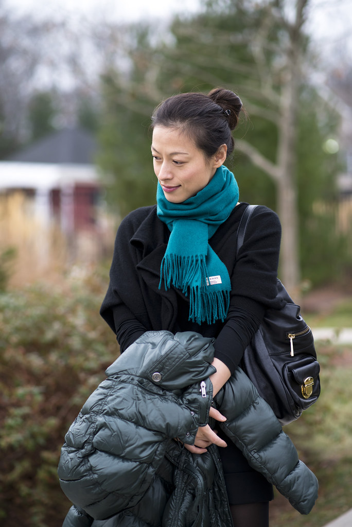 Glossy Puffer Coat & Turquoise Cashmere scarf: my closet strategy