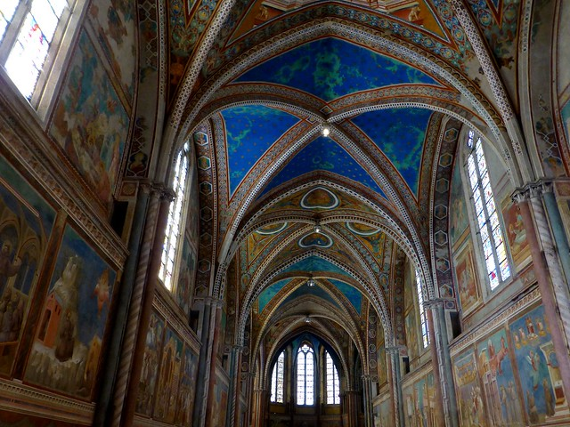 Interior of the upper church of the Basilica of San Francesco d'Assisi,  Assisi, Italy