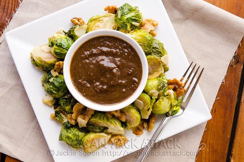Roasted Brussels with Raisin Vinaigrette