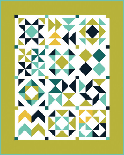 Half-Square Triangle Block of the Month Quilt Diagram by Jeni Baker