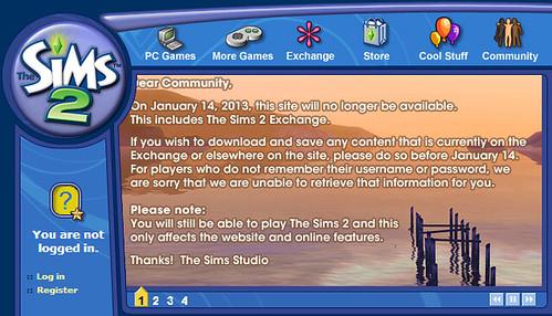 Sims 2 Online Shutdown 2