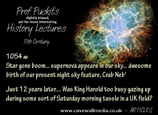 poster with words of the year 1054 AD supernova and 12 years later some tussle in a UK field