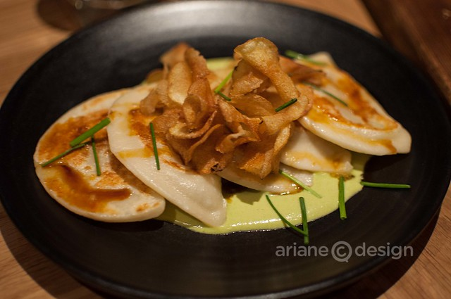 Forage/Squash pierogies, birch syrup vinegar reduction, smokey potatoes, scallion crème fraîche