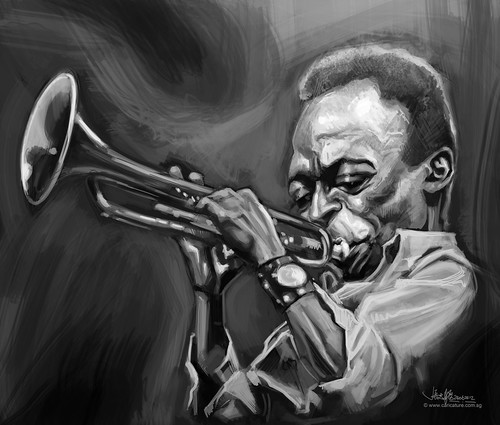 digital caricature of Miles Davis -2