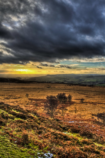 0330 - England, Peak District, White Edge Sunset HDR