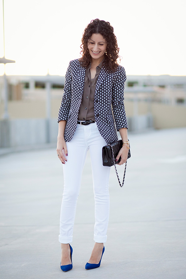 Print Blazer & Vintage Watch