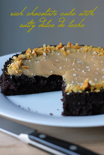 rich chocolate cake with salty dulce de leche