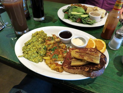 Herbivore - Combo Platter with Sour dough french toast and pesto tofu scramble