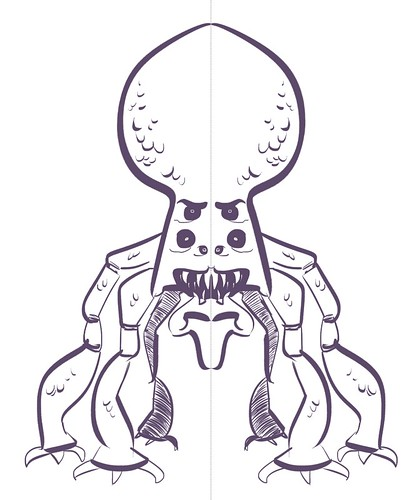 creature design using Sketchbook Pro's symmetry tool