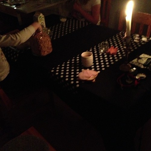 One good thing about this time of year. Candlelit breakfast.