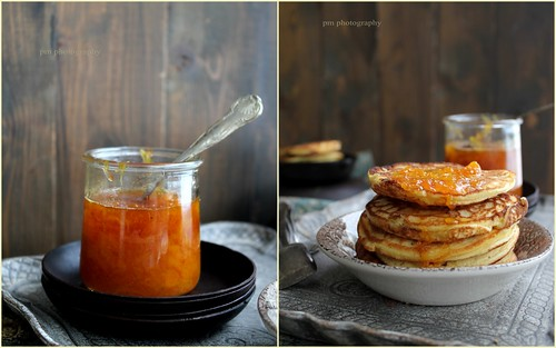 Pancakes with cottage cheese and grapefruit marmalade syrup beer and honey